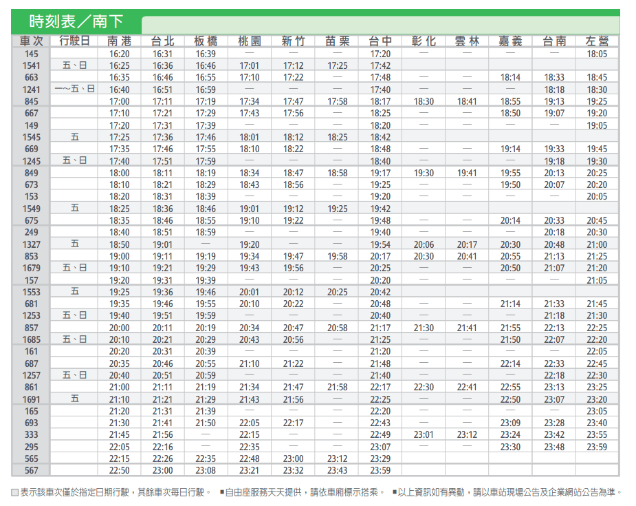嘉義高鐵站南下時刻表