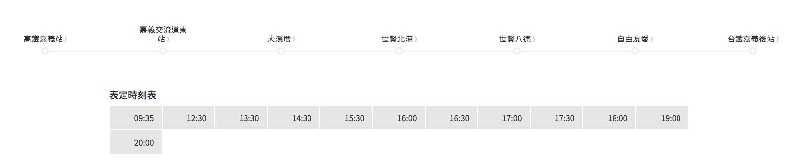 台灣好行阿里山線高鐵站時刻表